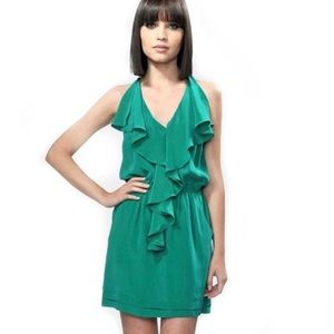 Anthropologie 100% silk jade green ruffle sundress